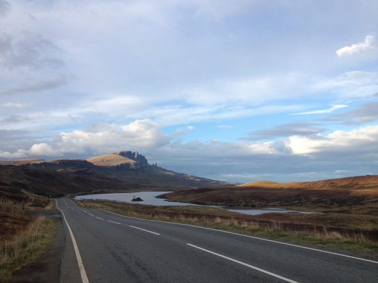 The drive along the A855 past The Old Mann Of Storr