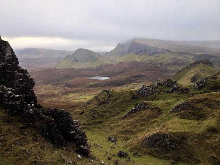 Standing in the Quiraing, looking South down the Trotternish Ridge.