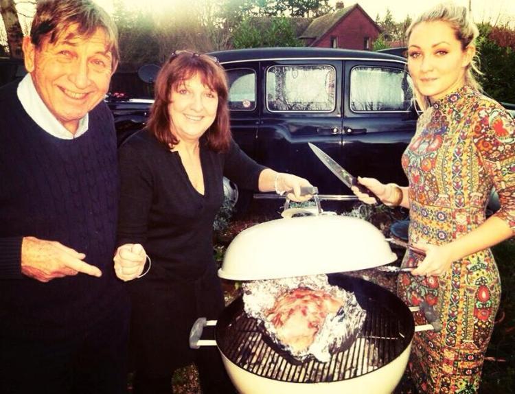 BBQ-ing the turkey, Christmas 2013