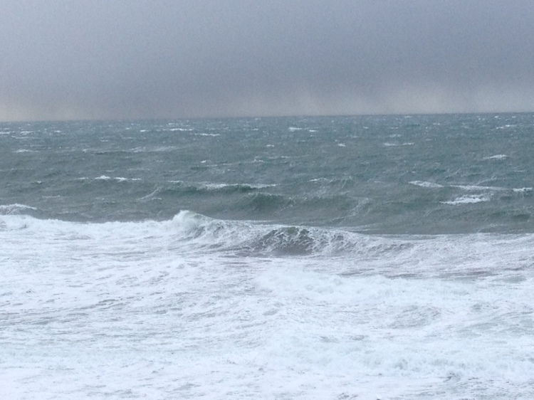 Stormy seas. It's hard to see because there's not much here for scale but these waves were huge.