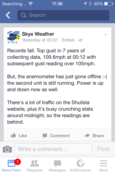 One of the last Facebook posts from Skye Weather before we lost power. Shulista is about 3 mins down the road.