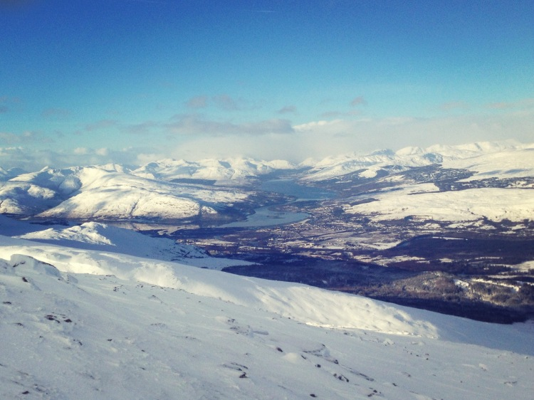 Looking down onto Fort William and out towards Eigg