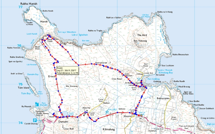 My route from the bay to Rubha Hunish. Image from beardedgit.com