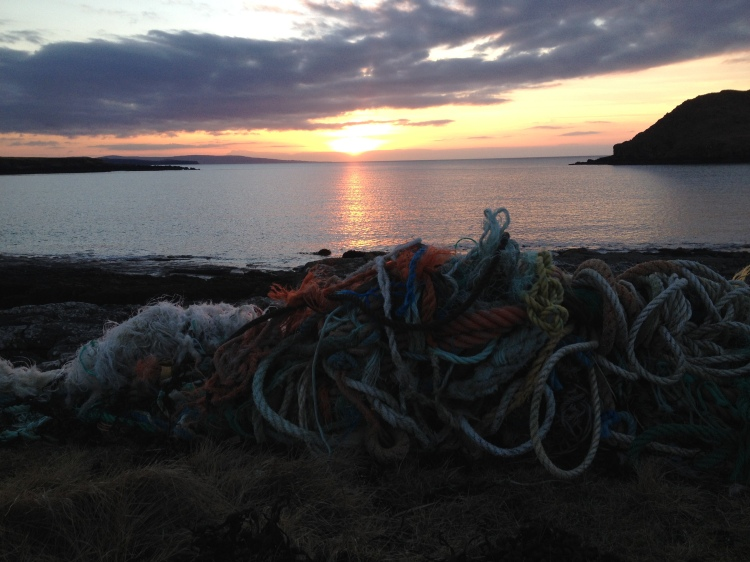 Sunset at Duntulm (though it would be much lovelier without all the ghost gear)