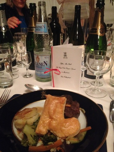 The ball was themed after the historic Duchess of Richmond's Ball and all the courses were inspired by meals/people of the time. This is a Duke of (beef) Wellington!