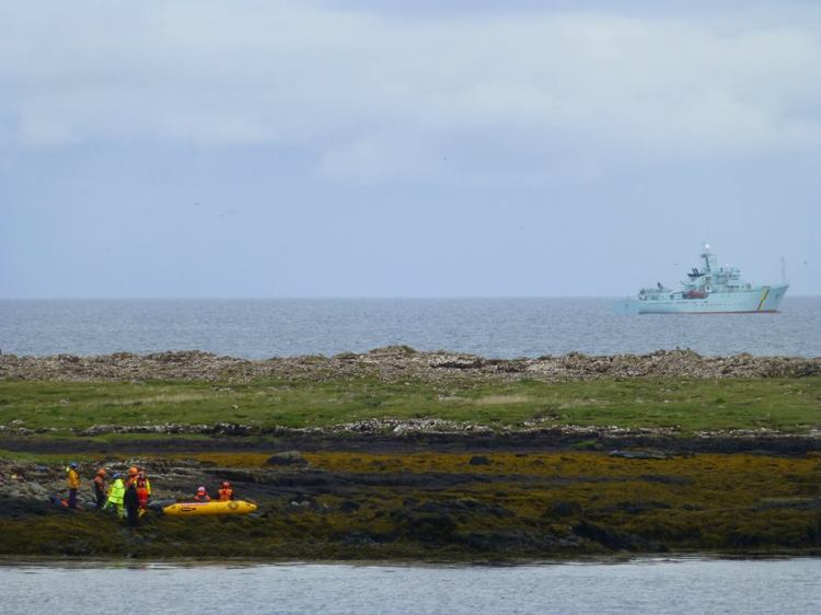 Stranded whales on the rocks at Saffin Island. The boat in the background is a Marine Scotland vessel (the fisheries security organisation that send officers to come and help). Photo by Adam Williams