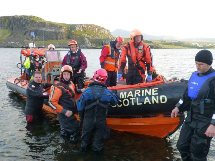 Being ferried back to Staffin Slipway by Marine Scotland. Photo by Adam Williams