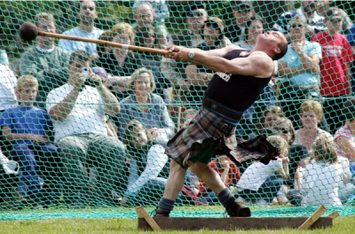 The hammer throw in the heavy events part of the Highland Games. Photo by www.skye-highland-games.co.uk