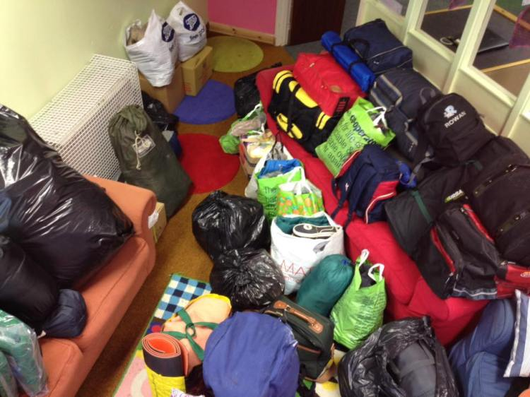 The first collection. All of this was donated in just an hour or two (photo by Tom Hodgetts)