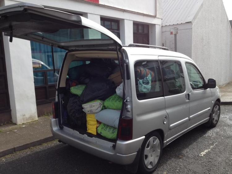 The first donations packed into Tom's car and ready to go to Inverness (photo by Tom Hodgetts)
