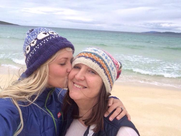Mum and I rocking the bobble hats on Scarista Beach, Harris