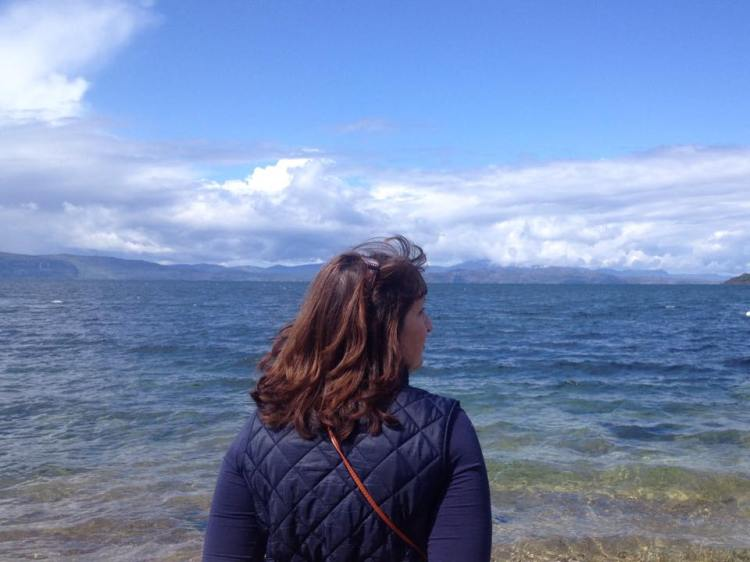 Mum looking out towards Skye from Applecross Bay