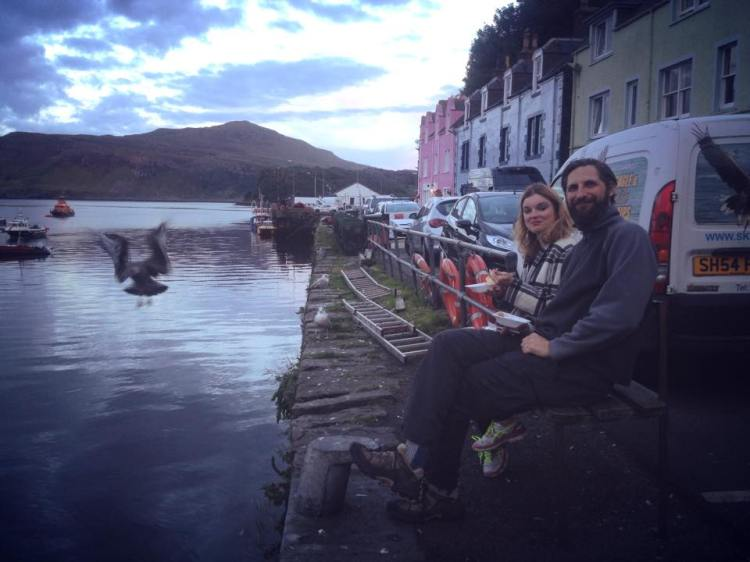 Don't feed the seagulls! Anthony and Sophie in Portree Harbour