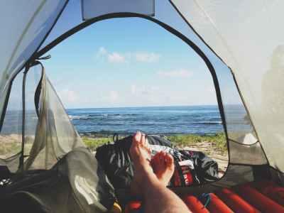 adventure camping feet morning